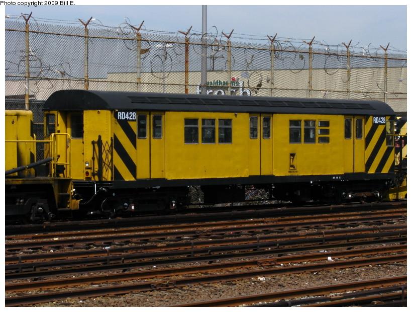 (183k, 820x620)<br><b>Country:</b> United States<br><b>City:</b> New York<br><b>System:</b> New York City Transit<br><b>Location:</b> Rockaway Park Yard<br><b>Car:</b> R-161 Rider Car (ex-R-33)  RD428 (ex-9038)<br><b>Photo by:</b> Bill E.<br><b>Date:</b> 4/17/2009<br><b>Viewed (this week/total):</b> 0 / 1025