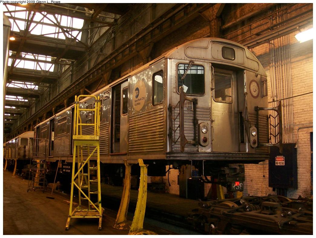(259k, 1044x788)<br><b>Country:</b> United States<br><b>City:</b> New York<br><b>System:</b> New York City Transit<br><b>Location:</b> 207th Street Shop<br><b>Car:</b> R-38 (St. Louis, 1966-1967)  4097 <br><b>Photo by:</b> Glenn L. Rowe<br><b>Date:</b> 4/21/2009<br><b>Viewed (this week/total):</b> 0 / 826