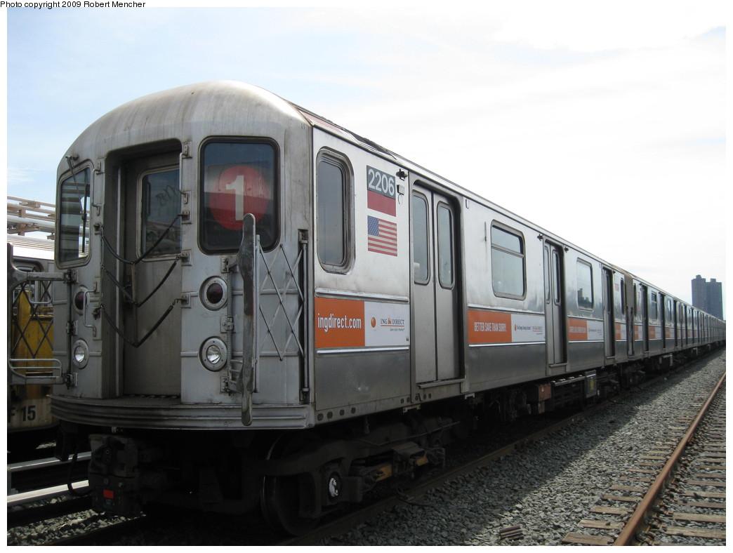 (178k, 1044x788)<br><b>Country:</b> United States<br><b>City:</b> New York<br><b>System:</b> New York City Transit<br><b>Location:</b> 207th Street Yard<br><b>Car:</b> R-62A (Bombardier, 1984-1987)  2206 <br><b>Photo by:</b> Robert Mencher<br><b>Date:</b> 4/18/2009<br><b>Viewed (this week/total):</b> 4 / 889