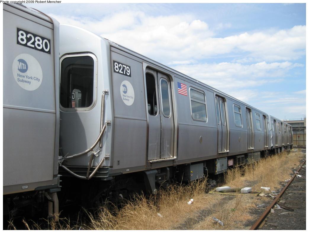(205k, 1044x788)<br><b>Country:</b> United States<br><b>City:</b> New York<br><b>System:</b> New York City Transit<br><b>Location:</b> 207th Street Yard<br><b>Car:</b> R-143 (Kawasaki, 2001-2002) 8279 <br><b>Photo by:</b> Robert Mencher<br><b>Date:</b> 4/18/2009<br><b>Notes:</b> Cars 8277-8280 involved in accident at Canarsie Yard, 6/21/2006.<br><b>Viewed (this week/total):</b> 0 / 1428