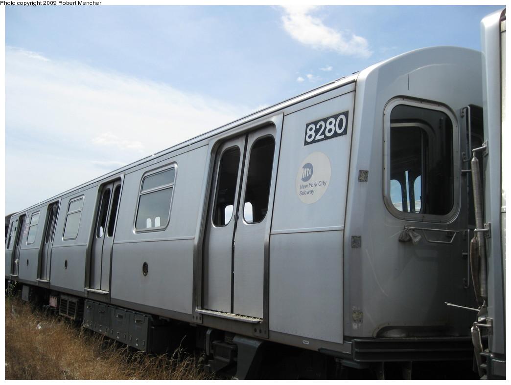 (159k, 1044x788)<br><b>Country:</b> United States<br><b>City:</b> New York<br><b>System:</b> New York City Transit<br><b>Location:</b> 207th Street Yard<br><b>Car:</b> R-143 (Kawasaki, 2001-2002) 8280 <br><b>Photo by:</b> Robert Mencher<br><b>Date:</b> 4/18/2009<br><b>Notes:</b> Cars 8277-8280 involved in accident at Canarsie Yard, 6/21/2006.<br><b>Viewed (this week/total):</b> 1 / 1457