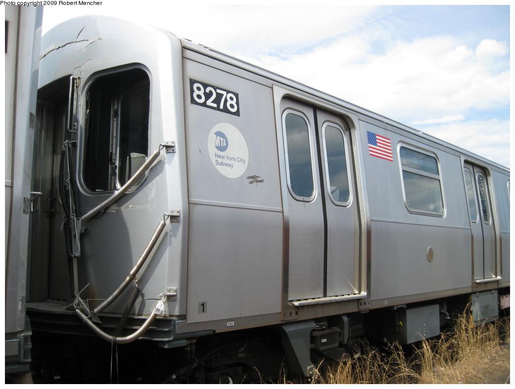 (174k, 1044x788)<br><b>Country:</b> United States<br><b>City:</b> New York<br><b>System:</b> New York City Transit<br><b>Location:</b> 207th Street Yard<br><b>Car:</b> R-143 (Kawasaki, 2001-2002) 8278 <br><b>Photo by:</b> Robert Mencher<br><b>Date:</b> 4/18/2009<br><b>Notes:</b> Cars 8277-8280 involved in accident at Canarsie Yard, 6/21/2006.<br><b>Viewed (this week/total):</b> 0 / 1373