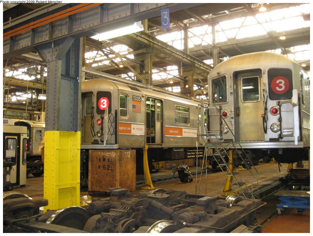 (287k, 1044x788)<br><b>Country:</b> United States<br><b>City:</b> New York<br><b>System:</b> New York City Transit<br><b>Location:</b> 207th Street Shop<br><b>Car:</b> R-62 (Kawasaki, 1983-1985)  1335 <br><b>Photo by:</b> Robert Mencher<br><b>Date:</b> 4/18/2009<br><b>Viewed (this week/total):</b> 0 / 939
