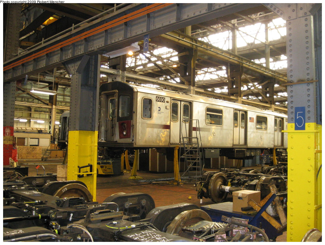 (294k, 1044x788)<br><b>Country:</b> United States<br><b>City:</b> New York<br><b>System:</b> New York City Transit<br><b>Location:</b> 207th Street Shop<br><b>Car:</b> R-142 (Primary Order, Bombardier, 1999-2002)  6690 <br><b>Photo by:</b> Robert Mencher<br><b>Date:</b> 4/18/2009<br><b>Viewed (this week/total):</b> 0 / 1362