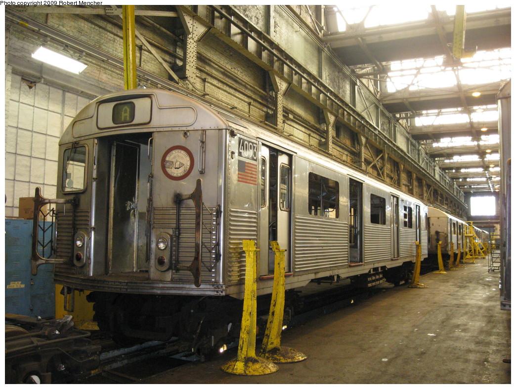 (284k, 1044x788)<br><b>Country:</b> United States<br><b>City:</b> New York<br><b>System:</b> New York City Transit<br><b>Location:</b> 207th Street Shop<br><b>Car:</b> R-38 (St. Louis, 1966-1967)  4093 <br><b>Photo by:</b> Robert Mencher<br><b>Date:</b> 4/18/2009<br><b>Viewed (this week/total):</b> 3 / 777