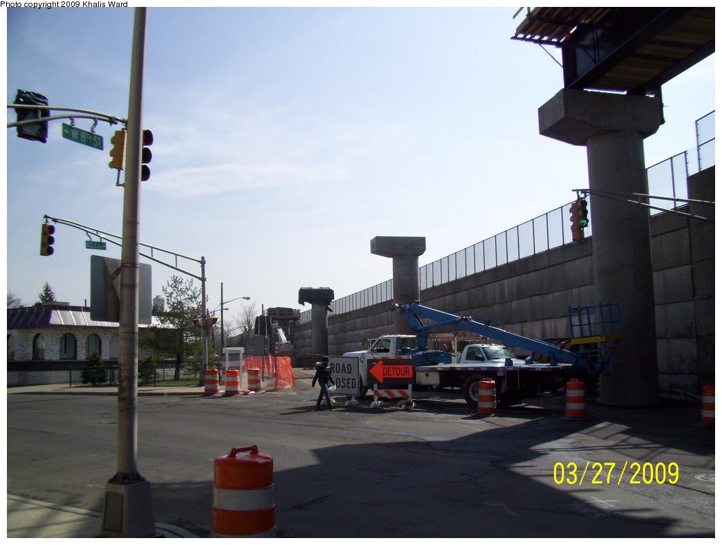 (191k, 1044x788)<br><b>Country:</b> United States<br><b>City:</b> Jersey City, NJ<br><b>System:</b> Hudson Bergen Light Rail<br><b>Location:</b> Bayonne 8th Street <br><b>Photo by:</b> Khalis Ward<br><b>Date:</b> 3/27/2009<br><b>Notes:</b> Construction of track to new Bayonne 8th St. station.<br><b>Viewed (this week/total):</b> 0 / 677