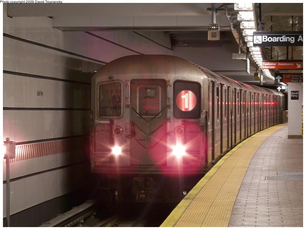 (189k, 1044x788)<br><b>Country:</b> United States<br><b>City:</b> New York<br><b>System:</b> New York City Transit<br><b>Line:</b> IRT West Side Line<br><b>Location:</b> South Ferry (New Station) <br><b>Route:</b> 1<br><b>Car:</b> R-62A (Bombardier, 1984-1987)  2390 <br><b>Photo by:</b> David Tropiansky<br><b>Date:</b> 4/26/2009<br><b>Viewed (this week/total):</b> 1 / 1820