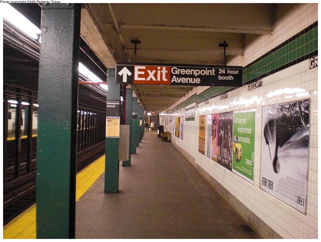 (326k, 1044x788)<br><b>Country:</b> United States<br><b>City:</b> New York<br><b>System:</b> New York City Transit<br><b>Line:</b> IND Crosstown Line<br><b>Location:</b> Greenpoint Avenue <br><b>Photo by:</b> Roberto C. Tobar<br><b>Date:</b> 4/25/2009<br><b>Notes:</b> Platform/track view.<br><b>Viewed (this week/total):</b> 2 / 1444