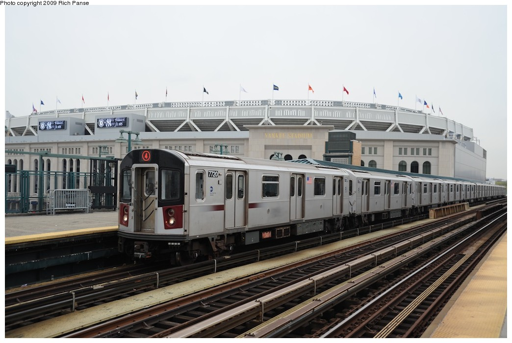 (169k, 1044x701)<br><b>Country:</b> United States<br><b>City:</b> New York<br><b>System:</b> New York City Transit<br><b>Line:</b> IRT Woodlawn Line<br><b>Location:</b> 161st Street/River Avenue (Yankee Stadium) <br><b>Route:</b> 4<br><b>Car:</b> R-142A (Option Order, Kawasaki, 2002-2003)  7720 <br><b>Photo by:</b> Richard Panse<br><b>Date:</b> 4/22/2009<br><b>Viewed (this week/total):</b> 0 / 1446