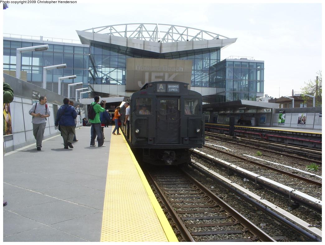 (274k, 1044x788)<br><b>Country:</b> United States<br><b>City:</b> New York<br><b>System:</b> New York City Transit<br><b>Line:</b> IND Rockaway<br><b>Location:</b> Howard Beach <br><b>Route:</b> Museum Train Service (A)<br><b>Car:</b> R-1 (American Car & Foundry, 1930-1931) 381 <br><b>Photo by:</b> Christopher Henderson<br><b>Date:</b> 4/29/2009<br><b>Notes:</b> Duke Ellington Day promotion by Jet Blue & the Bahamas.<br><b>Viewed (this week/total):</b> 0 / 1680