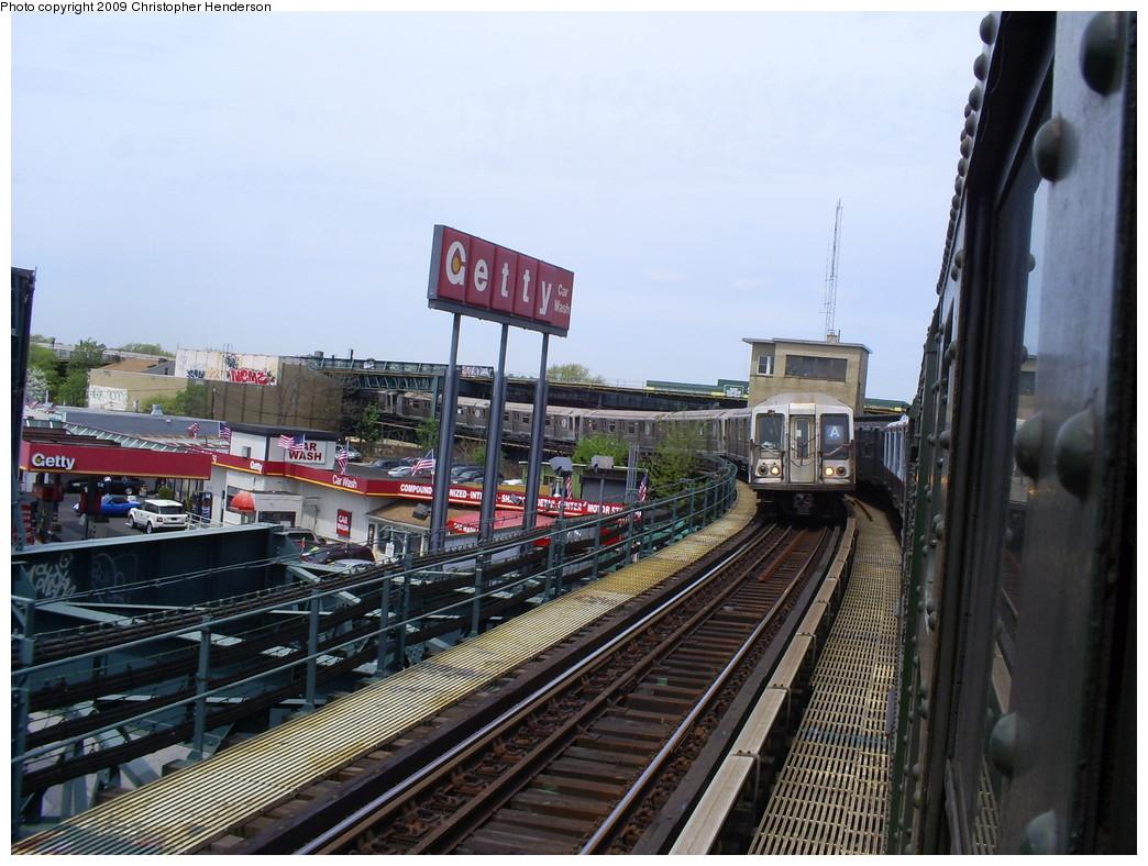 (271k, 1044x788)<br><b>Country:</b> United States<br><b>City:</b> New York<br><b>System:</b> New York City Transit<br><b>Line:</b> IND Rockaway<br><b>Location:</b> Liberty Junction<br><b>Route:</b> A<br><b>Car:</b> R-40 (St. Louis, 1968)  4219 <br><b>Photo by:</b> Christopher Henderson<br><b>Date:</b> 4/29/2009<br><b>Notes:</b> View heading north toward Rockaway Blvd station at Liberty Jct.<br><b>Viewed (this week/total):</b> 0 / 1293