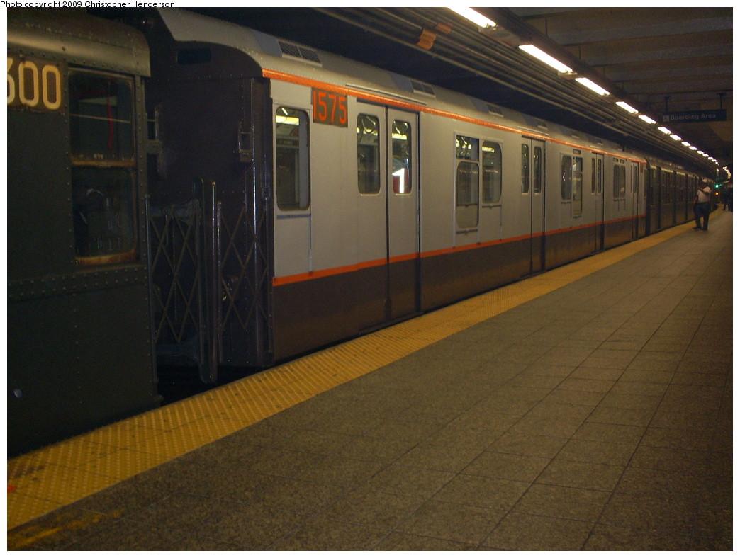 (232k, 1044x788)<br><b>Country:</b> United States<br><b>City:</b> New York<br><b>System:</b> New York City Transit<br><b>Line:</b> IND 8th Avenue Line<br><b>Location:</b> 207th Street <br><b>Route:</b> Museum Train Service (A)<br><b>Car:</b> R-7A (Pullman, 1938)  1575 <br><b>Photo by:</b> Christopher Henderson<br><b>Date:</b> 4/29/2009<br><b>Notes:</b> Duke Ellington Day promotion by Jet Blue & the Bahamas.<br><b>Viewed (this week/total):</b> 1 / 1224