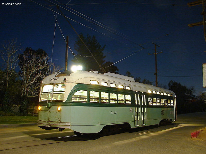(150k, 800x600)<br><b>Country:</b> United States<br><b>City:</b> Perris, CA<br><b>System:</b> Orange Empire Railway Museum <br><b>Car:</b> PCC  3165 <br><b>Photo by:</b> Salaam Allah<br><b>Date:</b> 3/7/2009<br><b>Notes:</b> LAMTA 3165 is a Type P-3 All-Electric PCC, built by St. Louis in 1948, retired 1963. Was the last streetcar delivered to Los Angeles. This car and its 39 mates last saw service on Pico P line from 1948 until 1963, in the green LAMTA 1958 paint scheme.<br><b>Viewed (this week/total):</b> 2 / 1273