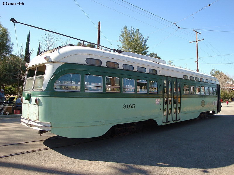 (166k, 800x600)<br><b>Country:</b> United States<br><b>City:</b> Perris, CA<br><b>System:</b> Orange Empire Railway Museum <br><b>Car:</b> PCC  3165 <br><b>Photo by:</b> Salaam Allah<br><b>Date:</b> 3/7/2009<br><b>Notes:</b> LAMTA 3165 is a Type P-3 All-Electric PCC, built by St. Louis in 1948, retired 1963. Was the last streetcar delivered to Los Angeles. This car and its 39 mates last saw service on Pico P line from 1948 until 1963, in the green LAMTA 1958 paint scheme.<br><b>Viewed (this week/total):</b> 0 / 1128