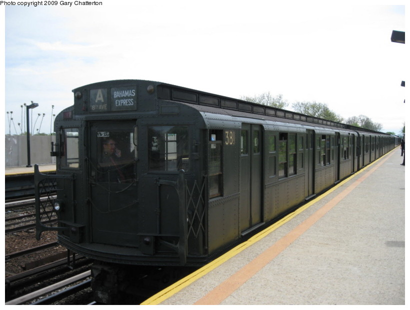 (98k, 820x620)<br><b>Country:</b> United States<br><b>City:</b> New York<br><b>System:</b> New York City Transit<br><b>Line:</b> IND Rockaway<br><b>Location:</b> Aqueduct/North Conduit Avenue <br><b>Route:</b> Museum Train Service (A)<br><b>Car:</b> R-1 (American Car & Foundry, 1930-1931) 381 <br><b>Photo by:</b> Gary Chatterton<br><b>Date:</b> 4/29/2009<br><b>Notes:</b> Duke Ellington Day promotion by Jet Blue & the Bahamas.<br><b>Viewed (this week/total):</b> 9 / 2344