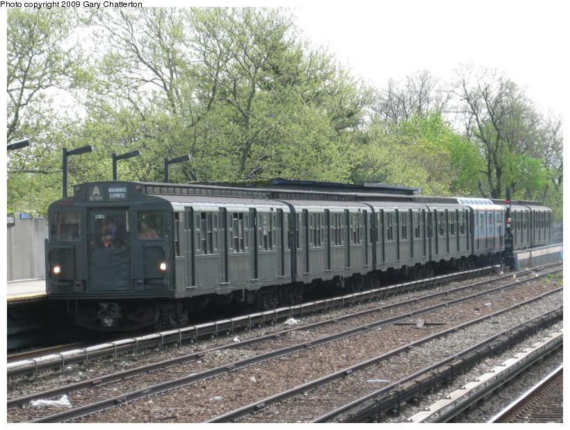 (188k, 820x620)<br><b>Country:</b> United States<br><b>City:</b> New York<br><b>System:</b> New York City Transit<br><b>Line:</b> IND Rockaway<br><b>Location:</b> Aqueduct/North Conduit Avenue <br><b>Route:</b> Museum Train Service (A)<br><b>Car:</b> R-1 (American Car & Foundry, 1930-1931) 381 <br><b>Photo by:</b> Gary Chatterton<br><b>Date:</b> 4/29/2009<br><b>Notes:</b> Duke Ellington Day promotion by Jet Blue & the Bahamas.<br><b>Viewed (this week/total):</b> 1 / 1227
