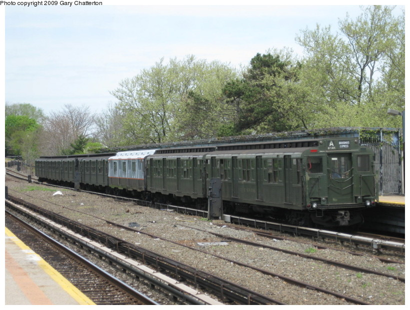 (165k, 820x620)<br><b>Country:</b> United States<br><b>City:</b> New York<br><b>System:</b> New York City Transit<br><b>Line:</b> IND Rockaway<br><b>Location:</b> Aqueduct/North Conduit Avenue <br><b>Route:</b> Museum Train Service (A)<br><b>Car:</b> R-1 (American Car & Foundry, 1930-1931) 100 <br><b>Photo by:</b> Gary Chatterton<br><b>Date:</b> 4/29/2009<br><b>Notes:</b> Duke Ellington Day promotion by Jet Blue & the Bahamas.<br><b>Viewed (this week/total):</b> 4 / 1276