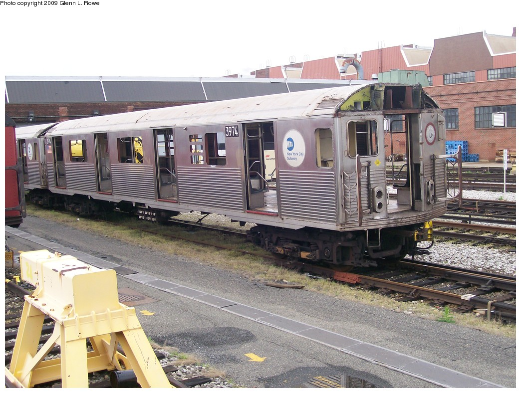 (258k, 1044x788)<br><b>Country:</b> United States<br><b>City:</b> New York<br><b>System:</b> New York City Transit<br><b>Location:</b> 207th Street Yard<br><b>Car:</b> R-38 (St. Louis, 1966-1967)  3974 <br><b>Photo by:</b> Glenn L. Rowe<br><b>Date:</b> 5/6/2009<br><b>Notes:</b> Scrap<br><b>Viewed (this week/total):</b> 0 / 995