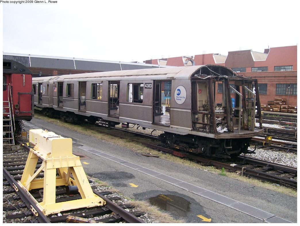 (241k, 1044x788)<br><b>Country:</b> United States<br><b>City:</b> New York<br><b>System:</b> New York City Transit<br><b>Location:</b> 207th Street Yard<br><b>Car:</b> R-40 (St. Louis, 1968)  4383 <br><b>Photo by:</b> Glenn L. Rowe<br><b>Date:</b> 5/7/2009<br><b>Notes:</b> Scrap<br><b>Viewed (this week/total):</b> 0 / 987