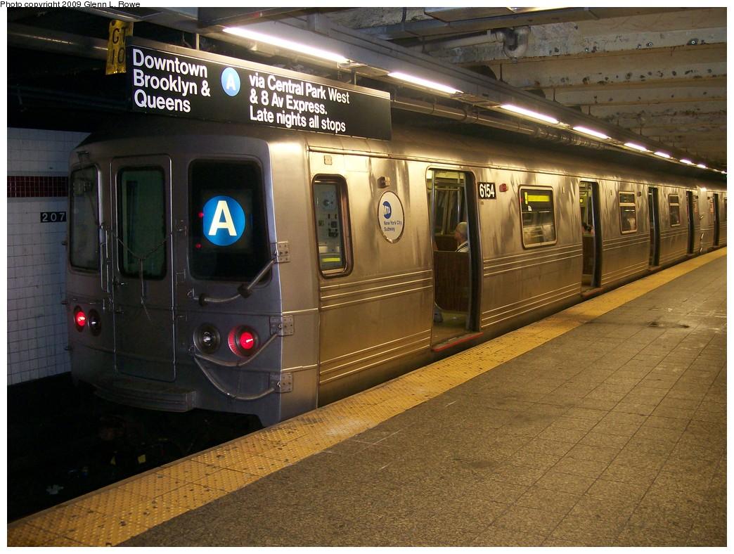 (237k, 1044x788)<br><b>Country:</b> United States<br><b>City:</b> New York<br><b>System:</b> New York City Transit<br><b>Line:</b> IND 8th Avenue Line<br><b>Location:</b> 207th Street <br><b>Route:</b> A<br><b>Car:</b> R-46 (Pullman-Standard, 1974-75) 6154 <br><b>Photo by:</b> Glenn L. Rowe<br><b>Date:</b> 5/7/2009<br><b>Viewed (this week/total):</b> 0 / 954