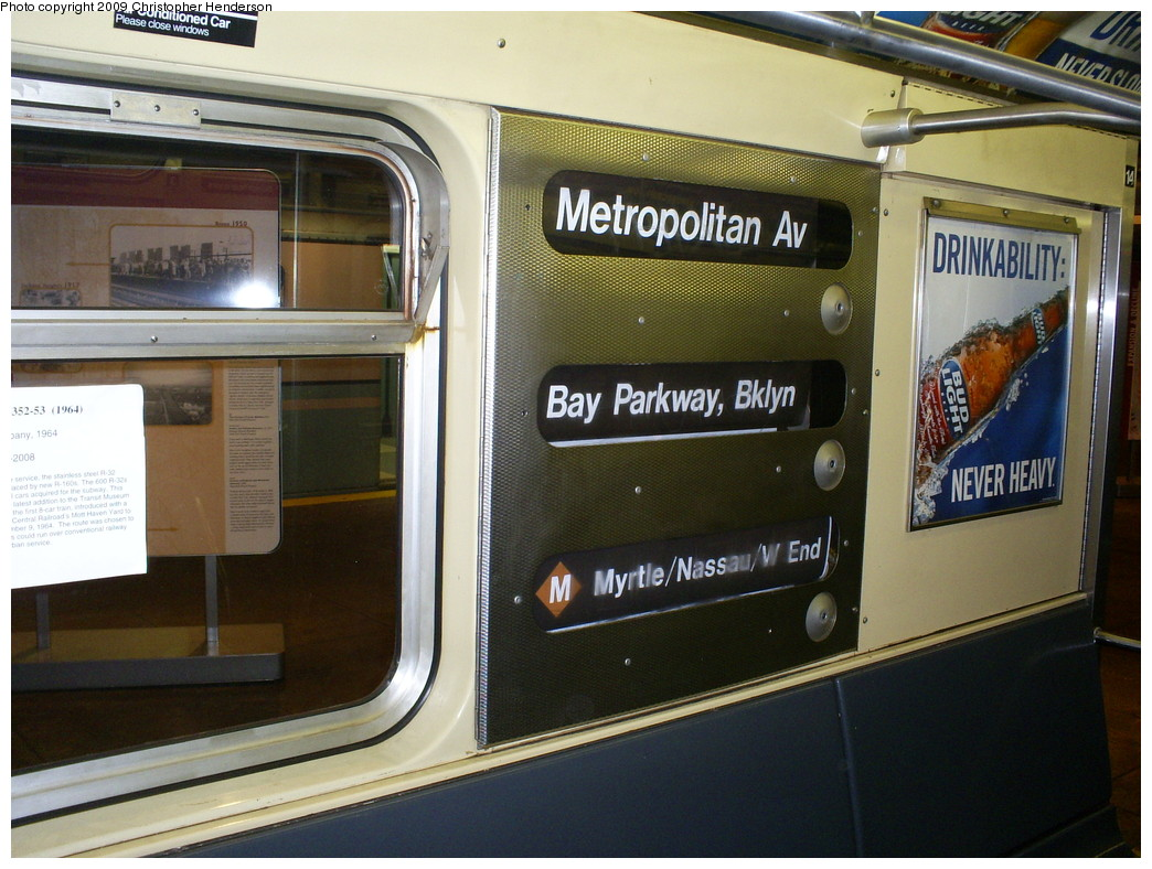 (264k, 1044x788)<br><b>Country:</b> United States<br><b>City:</b> New York<br><b>System:</b> New York City Transit<br><b>Location:</b> New York Transit Museum<br><b>Car:</b> R-32 (Budd, 1964)  3353 <br><b>Photo by:</b> Christopher Henderson<br><b>Date:</b> 5/2/2009<br><b>Viewed (this week/total):</b> 4 / 3174