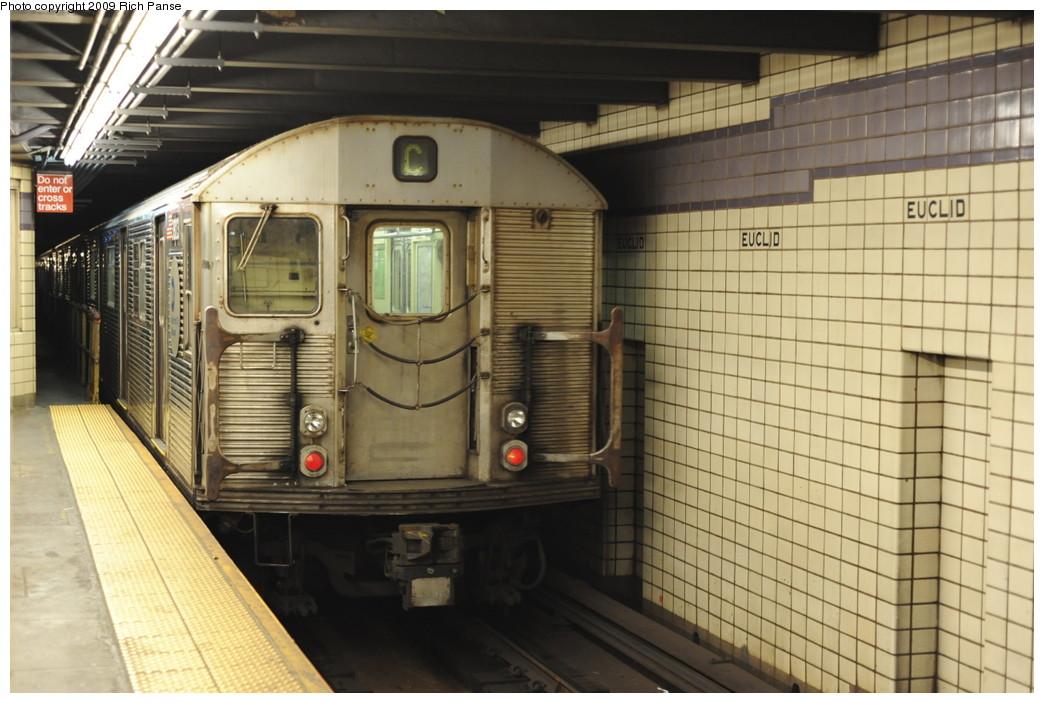 (187k, 1044x703)<br><b>Country:</b> United States<br><b>City:</b> New York<br><b>System:</b> New York City Transit<br><b>Line:</b> IND Fulton Street Line<br><b>Location:</b> Euclid Avenue <br><b>Route:</b> C<br><b>Car:</b> R-32 (Budd, 1964)   <br><b>Photo by:</b> Richard Panse<br><b>Date:</b> 4/29/2009<br><b>Viewed (this week/total):</b> 5 / 1245