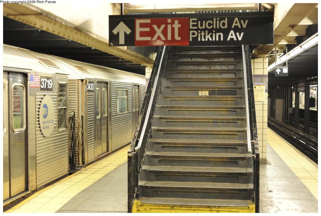 (214k, 1044x702)<br><b>Country:</b> United States<br><b>City:</b> New York<br><b>System:</b> New York City Transit<br><b>Line:</b> IND Fulton Street Line<br><b>Location:</b> Euclid Avenue <br><b>Route:</b> C<br><b>Car:</b> R-32 (Budd, 1964)  3430 <br><b>Photo by:</b> Richard Panse<br><b>Date:</b> 4/29/2009<br><b>Viewed (this week/total):</b> 0 / 1208