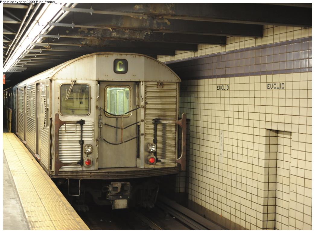 (208k, 1044x774)<br><b>Country:</b> United States<br><b>City:</b> New York<br><b>System:</b> New York City Transit<br><b>Line:</b> IND Fulton Street Line<br><b>Location:</b> Euclid Avenue <br><b>Route:</b> C<br><b>Car:</b> R-32 (Budd, 1964)   <br><b>Photo by:</b> Richard Panse<br><b>Date:</b> 4/29/2009<br><b>Viewed (this week/total):</b> 1 / 1189