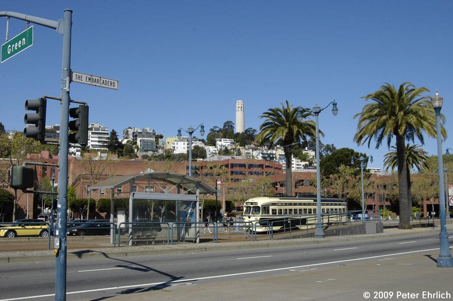 (210k, 930x618)<br><b>Country:</b> United States<br><b>City:</b> San Francisco/Bay Area, CA<br><b>System:</b> SF MUNI<br><b>Location:</b> Embarcadero/Green <br><b>Car:</b> SF MUNI PCC (Ex-SEPTA) (St. Louis Car Co., 1947-1948)  1056 <br><b>Photo by:</b> Peter Ehrlich<br><b>Date:</b> 4/12/2009<br><b>Notes:</b> Outbound.<br><b>Viewed (this week/total):</b> 1 / 315