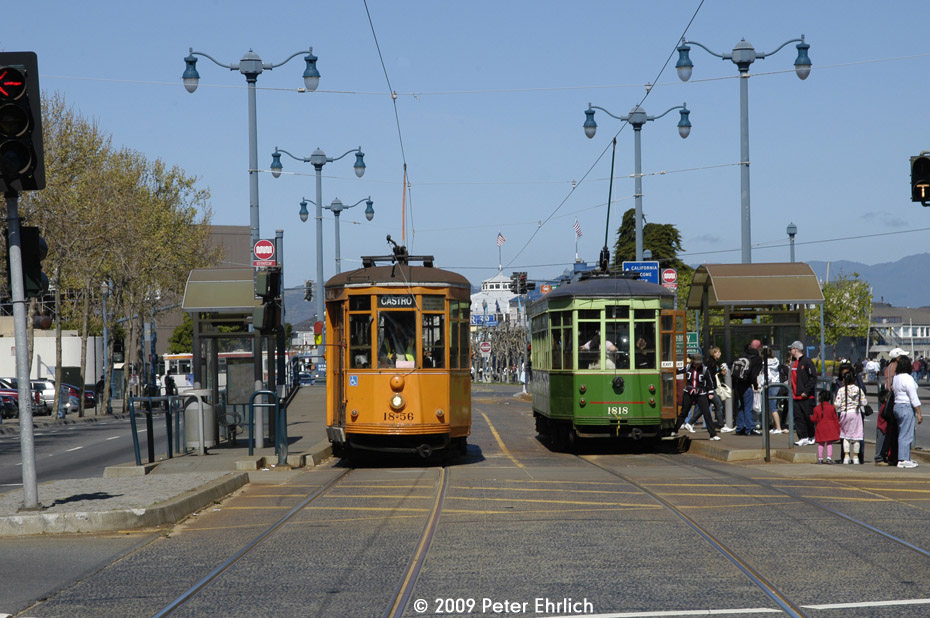 (217k, 930x618)<br><b>Country:</b> United States<br><b>City:</b> San Francisco/Bay Area, CA<br><b>System:</b> SF MUNI<br><b>Location:</b> Embarcadero/Bay <br><b>Car:</b> Milan Milano/Peter Witt (1927-1930)  1856 <br><b>Photo by:</b> Peter Ehrlich<br><b>Date:</b> 4/12/2009<br><b>Notes:</b> Outbound. With 1818 (Milan 2-tone green) inbound.<br><b>Viewed (this week/total):</b> 0 / 446