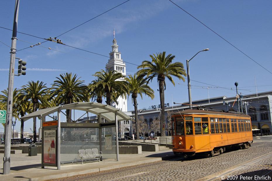 (230k, 930x618)<br><b>Country:</b> United States<br><b>City:</b> San Francisco/Bay Area, CA<br><b>System:</b> SF MUNI<br><b>Location:</b> Embarcadero/Don Chee Way <br><b>Car:</b> Milan Milano/Peter Witt (1927-1930)  1856 <br><b>Photo by:</b> Peter Ehrlich<br><b>Date:</b> 4/6/2009<br><b>Notes:</b> Outbound.<br><b>Viewed (this week/total):</b> 0 / 309