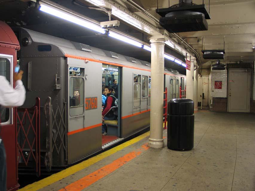 (86k, 853x640)<br><b>Country:</b> United States<br><b>City:</b> New York<br><b>System:</b> New York City Transit<br><b>Line:</b> IRT Times Square-Grand Central Shuttle<br><b>Location:</b> Times Square <br><b>Route:</b> Museum Train Service (S)<br><b>Car:</b> R-12 (American Car & Foundry, 1948) 5760 <br><b>Photo by:</b> Michael Pompili<br><b>Date:</b> 10/27/2004<br><b>Viewed (this week/total):</b> 1 / 1226