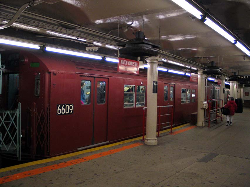 (83k, 853x640)<br><b>Country:</b> United States<br><b>City:</b> New York<br><b>System:</b> New York City Transit<br><b>Line:</b> IRT Times Square-Grand Central Shuttle<br><b>Location:</b> Times Square <br><b>Route:</b> Museum Train Service (S)<br><b>Car:</b> R-17 (St. Louis, 1955-56) 6609 <br><b>Photo by:</b> Michael Pompili<br><b>Date:</b> 10/27/2004<br><b>Viewed (this week/total):</b> 2 / 1416