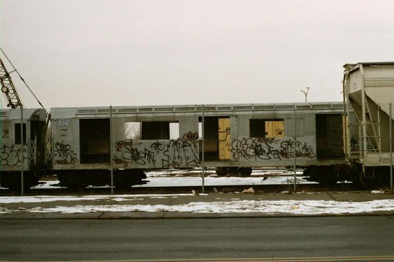 (59k, 768x512)<br><b>Country:</b> United States<br><b>City:</b> New York<br><b>System:</b> New York City Transit<br><b>Line:</b> South Brooklyn Railway<br><b>Location:</b> SBK Yard (2nd Ave at 38th St.) (SBK)<br><b>Car:</b> R-142 or R-142A (Number Unknown) Mockup 2 <br><b>Photo by:</b> Michael Pompili<br><b>Date:</b> 1/27/2001<br><b>Viewed (this week/total):</b> 1 / 1718