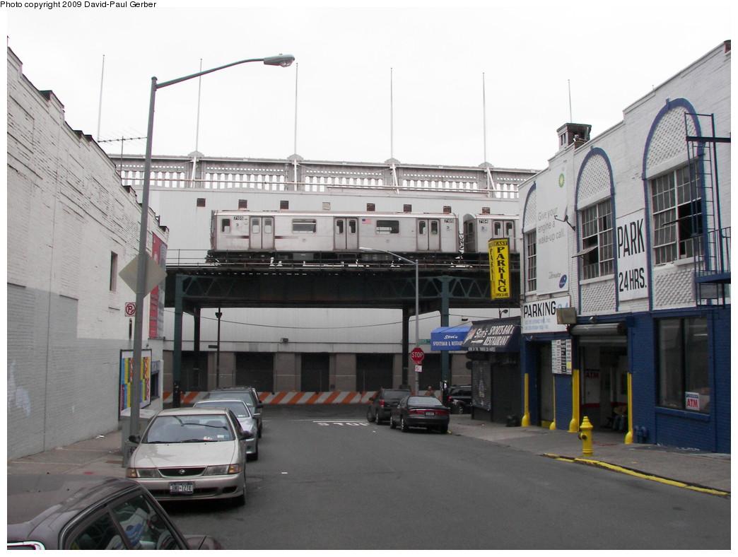 (241k, 1044x788)<br><b>Country:</b> United States<br><b>City:</b> New York<br><b>System:</b> New York City Transit<br><b>Line:</b> IRT Woodlawn Line<br><b>Location:</b> 161st Street/River Avenue (Yankee Stadium) <br><b>Route:</b> 4<br><b>Car:</b> R-142 (Option Order, Bombardier, 2002-2003)  7105 <br><b>Photo by:</b> David-Paul Gerber<br><b>Date:</b> 5/9/2009<br><b>Viewed (this week/total):</b> 3 / 2334