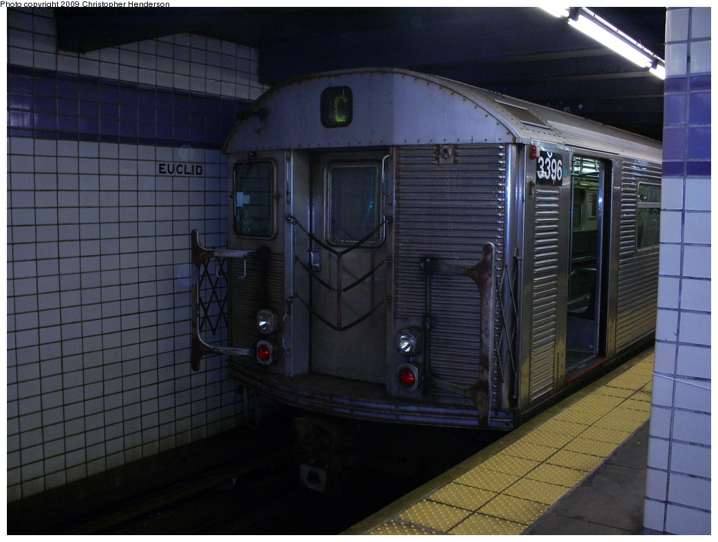 (242k, 1044x788)<br><b>Country:</b> United States<br><b>City:</b> New York<br><b>System:</b> New York City Transit<br><b>Line:</b> IND Fulton Street Line<br><b>Location:</b> Euclid Avenue <br><b>Route:</b> C<br><b>Car:</b> R-32 (Budd, 1964)  3396 <br><b>Photo by:</b> Christopher Henderson<br><b>Date:</b> 5/8/2009<br><b>Viewed (this week/total):</b> 1 / 1362