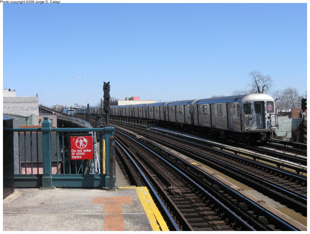 (206k, 1044x788)<br><b>Country:</b> United States<br><b>City:</b> New York<br><b>System:</b> New York City Transit<br><b>Line:</b> IRT Flushing Line<br><b>Location:</b> 103rd Street/Corona Plaza <br><b>Route:</b> 7<br><b>Car:</b> R-62A (Bombardier, 1984-1987)  1680 <br><b>Photo by:</b> Jorge Catayi<br><b>Date:</b> 3/21/2009<br><b>Viewed (this week/total):</b> 1 / 1287