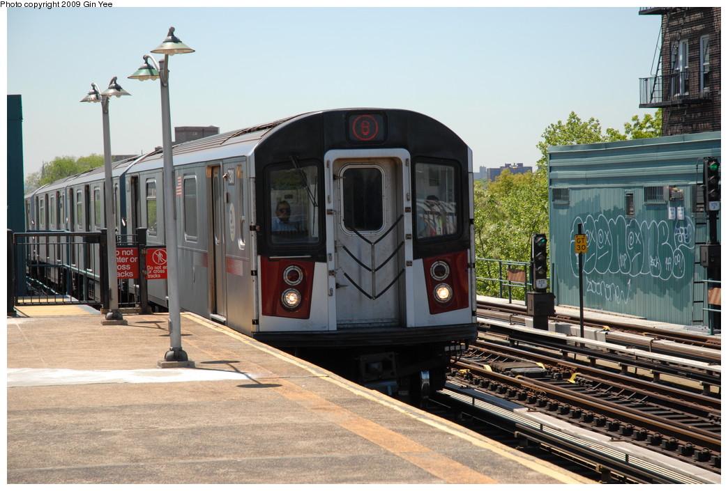(250k, 1044x705)<br><b>Country:</b> United States<br><b>City:</b> New York<br><b>System:</b> New York City Transit<br><b>Line:</b> IRT Pelham Line<br><b>Location:</b> Buhre Avenue <br><b>Route:</b> 6<br><b>Car:</b> R-142A (Primary Order, Kawasaki, 1999-2002)  7301 <br><b>Photo by:</b> Gin Yee<br><b>Date:</b> 5/19/2009<br><b>Viewed (this week/total):</b> 0 / 1378