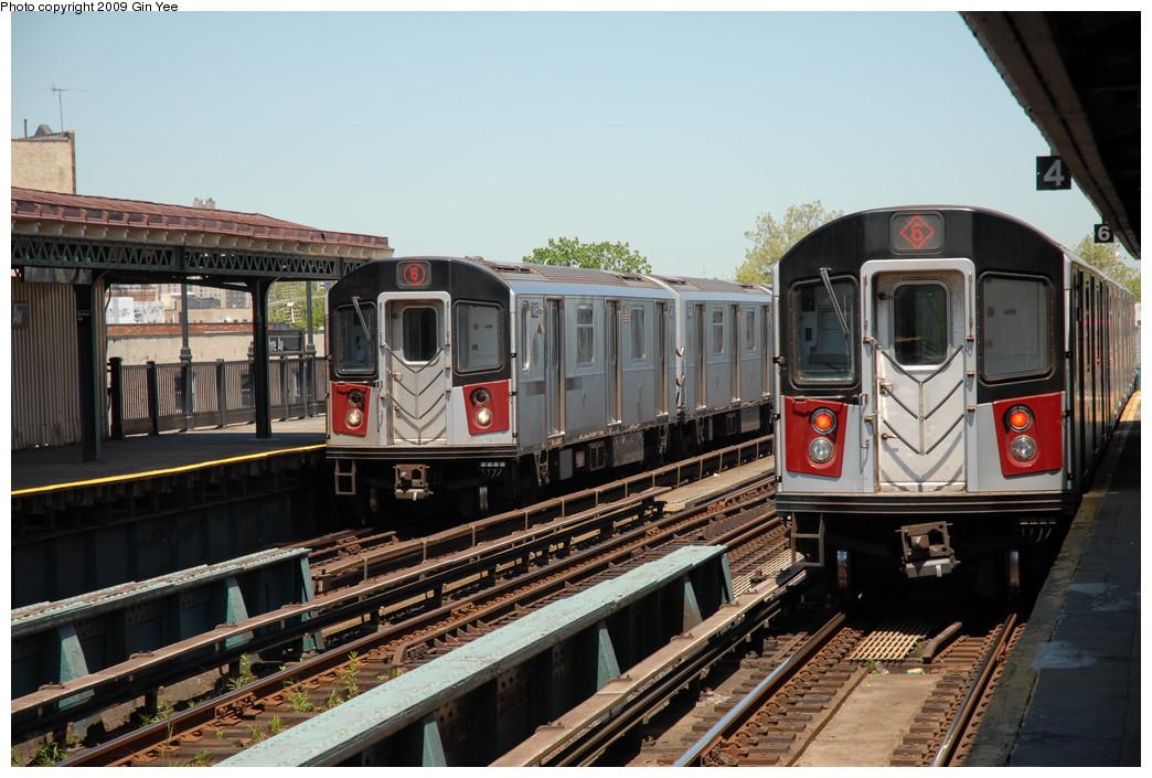 (242k, 1044x705)<br><b>Country:</b> United States<br><b>City:</b> New York<br><b>System:</b> New York City Transit<br><b>Line:</b> IRT Pelham Line<br><b>Location:</b> Buhre Avenue <br><b>Route:</b> 6<br><b>Car:</b> R-142A (Primary Order, Kawasaki, 1999-2002)  7495 <br><b>Photo by:</b> Gin Yee<br><b>Date:</b> 5/19/2009<br><b>Viewed (this week/total):</b> 3 / 1415