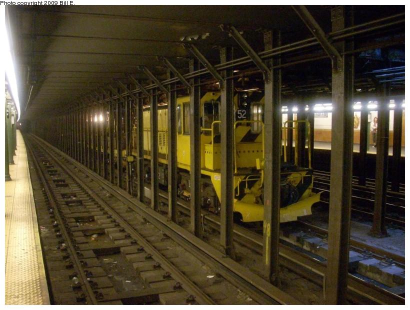 (178k, 820x620)<br><b>Country:</b> United States<br><b>City:</b> New York<br><b>System:</b> New York City Transit<br><b>Line:</b> IRT West Side Line<br><b>Location:</b> 66th Street/Lincoln Center <br><b>Route:</b> Work Service<br><b>Car:</b> R-37 Locomotive  52 <br><b>Photo by:</b> Bill E.<br><b>Date:</b> 4/25/2009<br><b>Viewed (this week/total):</b> 0 / 2129