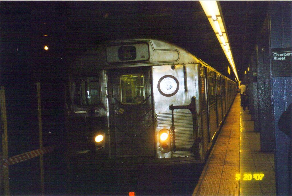 (126k, 1024x688)<br><b>Country:</b> United States<br><b>City:</b> New York<br><b>System:</b> New York City Transit<br><b>Line:</b> IND 8th Avenue Line<br><b>Location:</b> Chambers Street/World Trade Center <br><b>Route:</b> A<br><b>Car:</b> R-38 (St. Louis, 1966-1967)   <br><b>Photo by:</b> Jose Lauzardo<br><b>Date:</b> 6/24/2007<br><b>Viewed (this week/total):</b> 0 / 1196