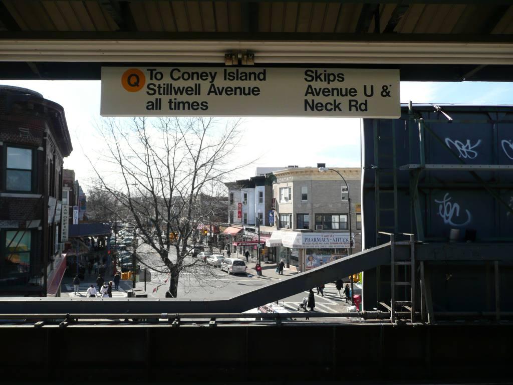 (101k, 1024x768)<br><b>Country:</b> United States<br><b>City:</b> New York<br><b>System:</b> New York City Transit<br><b>Line:</b> BMT Brighton Line<br><b>Location:</b> Kings Highway <br><b>Photo by:</b> Robbie Rosenfeld<br><b>Date:</b> 3/12/2009<br><b>Notes:</b> Unusual black on white sign; installed for the Brighton line construction work in 2009.<br><b>Viewed (this week/total):</b> 0 / 1383