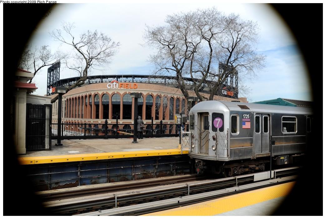 (200k, 1044x701)<br><b>Country:</b> United States<br><b>City:</b> New York<br><b>System:</b> New York City Transit<br><b>Line:</b> IRT Flushing Line<br><b>Location:</b> Willets Point/Mets (fmr. Shea Stadium) <br><b>Route:</b> 7<br><b>Car:</b> R-62A (Bombardier, 1984-1987)  1725 <br><b>Photo by:</b> Richard Panse<br><b>Date:</b> 3/25/2009<br><b>Viewed (this week/total):</b> 1 / 1351