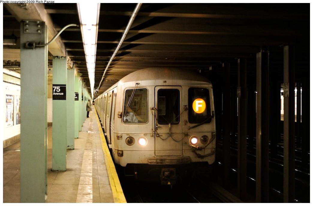 (132k, 1044x686)<br><b>Country:</b> United States<br><b>City:</b> New York<br><b>System:</b> New York City Transit<br><b>Line:</b> IND Queens Boulevard Line<br><b>Location:</b> 75th Avenue <br><b>Route:</b> F<br><b>Car:</b> R-46 (Pullman-Standard, 1974-75) 5710 <br><b>Photo by:</b> Richard Panse<br><b>Date:</b> 3/30/2009<br><b>Viewed (this week/total):</b> 0 / 1422