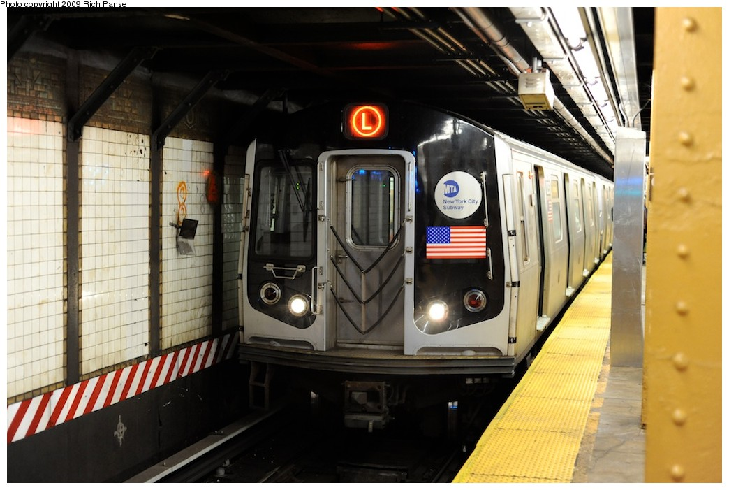 (172k, 1044x701)<br><b>Country:</b> United States<br><b>City:</b> New York<br><b>System:</b> New York City Transit<br><b>Line:</b> BMT Canarsie Line<br><b>Location:</b> 6th Avenue <br><b>Route:</b> L<br><b>Car:</b> R-143 (Kawasaki, 2001-2002)  <br><b>Photo by:</b> Richard Panse<br><b>Date:</b> 3/31/2009<br><b>Viewed (this week/total):</b> 3 / 1183