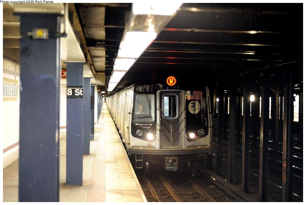 (146k, 1044x701)<br><b>Country:</b> United States<br><b>City:</b> New York<br><b>System:</b> New York City Transit<br><b>Line:</b> BMT Broadway Line<br><b>Location:</b> 8th Street <br><b>Route:</b> W<br><b>Car:</b> R-160A (Option 1) (Alstom, 2008-2009, 5 car sets)   <br><b>Photo by:</b> Richard Panse<br><b>Date:</b> 3/31/2009<br><b>Viewed (this week/total):</b> 1 / 1764