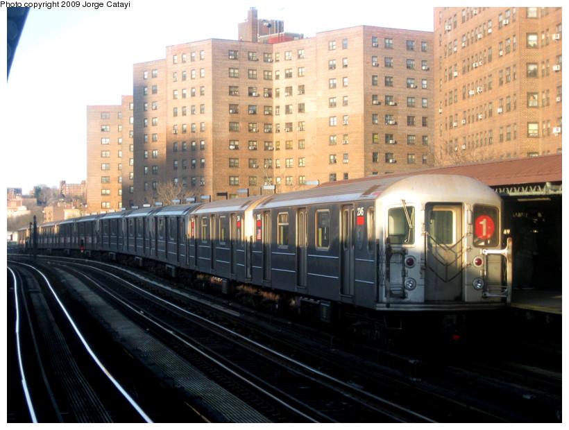 (173k, 820x620)<br><b>Country:</b> United States<br><b>City:</b> New York<br><b>System:</b> New York City Transit<br><b>Line:</b> IRT West Side Line<br><b>Location:</b> 225th Street <br><b>Route:</b> 1<br><b>Car:</b> R-62A (Bombardier, 1984-1987)  2345 <br><b>Photo by:</b> Jorge Catayi<br><b>Date:</b> 4/5/2009<br><b>Viewed (this week/total):</b> 0 / 1127