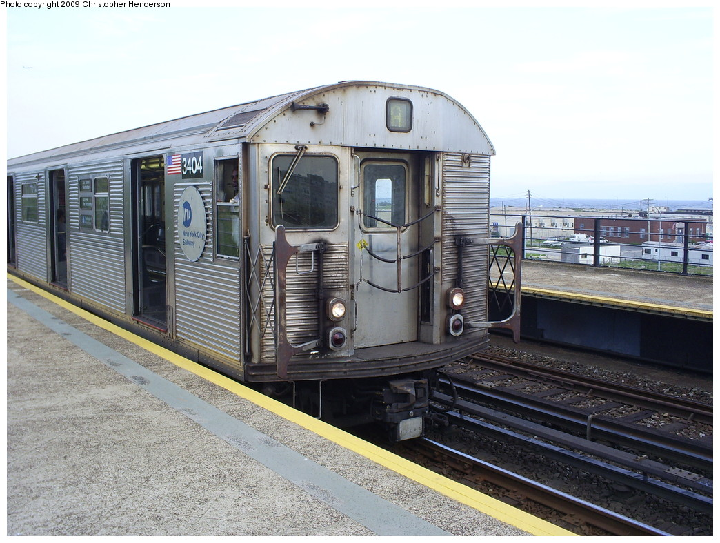 (289k, 1044x788)<br><b>Country:</b> United States<br><b>City:</b> New York<br><b>System:</b> New York City Transit<br><b>Line:</b> IND Rockaway<br><b>Location:</b> Beach 67th Street/Gaston Avenue <br><b>Route:</b> A<br><b>Car:</b> R-32 (Budd, 1964)  3404 <br><b>Photo by:</b> Christopher Henderson<br><b>Date:</b> 5/23/2009<br><b>Viewed (this week/total):</b> 3 / 1014