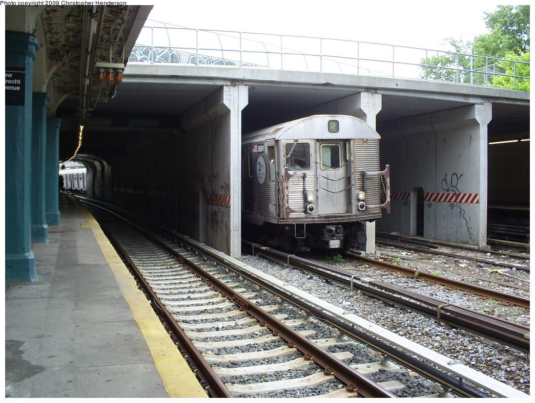 (310k, 1044x788)<br><b>Country:</b> United States<br><b>City:</b> New York<br><b>System:</b> New York City Transit<br><b>Line:</b> BMT Sea Beach Line<br><b>Location:</b> New Utrecht Avenue <br><b>Route:</b> R put-in<br><b>Car:</b> R-32 (Budd, 1964)  3691 <br><b>Photo by:</b> Christopher Henderson<br><b>Date:</b> 5/27/2009<br><b>Viewed (this week/total):</b> 1 / 1888