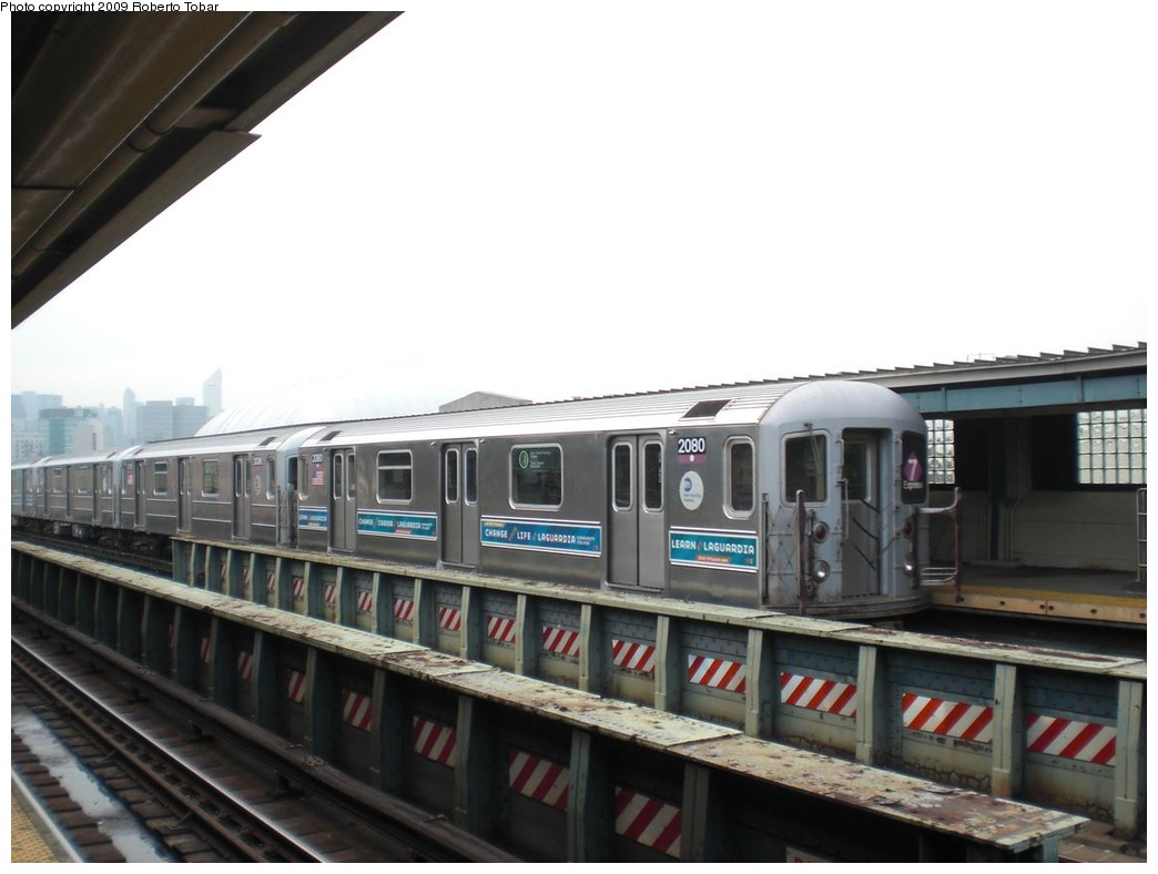 (178k, 1044x788)<br><b>Country:</b> United States<br><b>City:</b> New York<br><b>System:</b> New York City Transit<br><b>Line:</b> IRT Flushing Line<br><b>Location:</b> 33rd Street/Rawson Street <br><b>Route:</b> 7<br><b>Car:</b> R-62A (Bombardier, 1984-1987)  2080 <br><b>Photo by:</b> Roberto C. Tobar<br><b>Date:</b> 5/29/2009<br><b>Viewed (this week/total):</b> 1 / 993